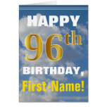 [ Thumbnail: Bold, Cloudy Sky, Faux Gold 96th Birthday + Name ]