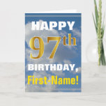 [ Thumbnail: Bold, Cloudy Sky, Faux Gold 97th Birthday + Name Card ]