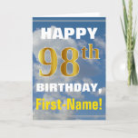 [ Thumbnail: Bold, Cloudy Sky, Faux Gold 98th Birthday + Name Card ]