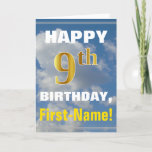 [ Thumbnail: Bold, Cloudy Sky, Faux Gold 9th Birthday + Name Card ]