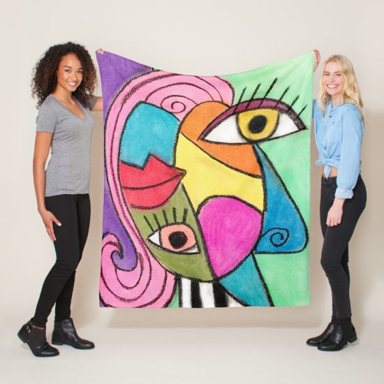 Bold Color Block Abstract Eyes Lips Cubism Bright Fleece Blanket