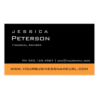 Bold Color Orange Financial Advisor Business Cards