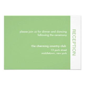 Bold Color Wedding Reception Cards - Green Invitations