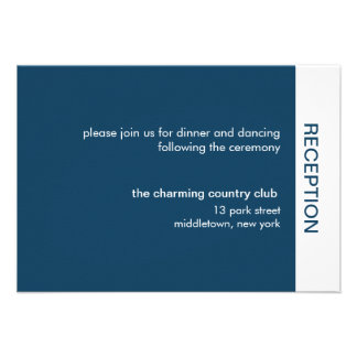 Bold Color Wedding Reception Cards - Navy Personalized Invitation