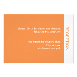 Bold Color Wedding Reception Cards - Orange Announcements