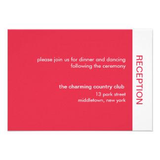 Bold Color Wedding Reception Cards - Red Custom Invites