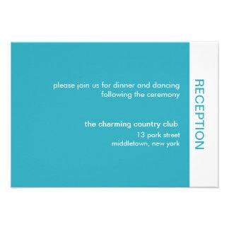 Bold Color Wedding Reception Cards - Turquoise Custom Invitations