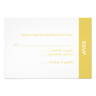 Bold Color Wedding RSVP Card - Gold Personalized Invitation