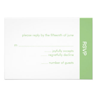 Bold Color Wedding RSVP Card - Green Personalized Announcements