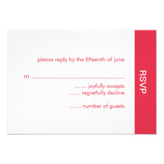 Bold Color Wedding RSVP Card - Red Personalized Invite