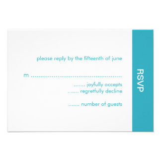 Bold Color Wedding RSVP Card - Turquoise Announcement