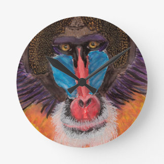 Bold Colored Baboon Face in Contemporary Style Round Wallclocks