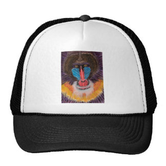 Bold Colored Baboon Face in Contemporary Style Trucker Hats
