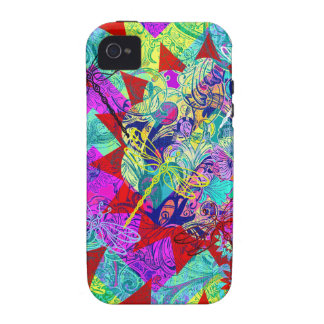 Bold Colorful Abstract Collage with Dragonflies Case-Mate iPhone 4 Covers