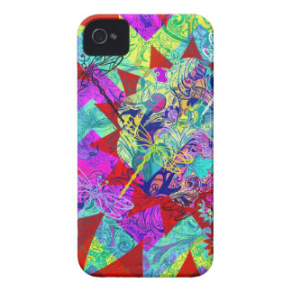Bold Colorful Abstract Collage with Dragonflies iPhone 4 Covers