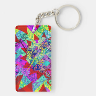 Bold Colorful Abstract Collage with Dragonflies Keychain