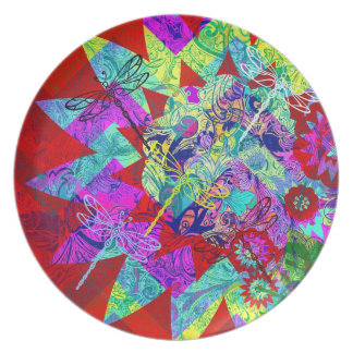 Bold Colorful Abstract Collage with Dragonflies Plate