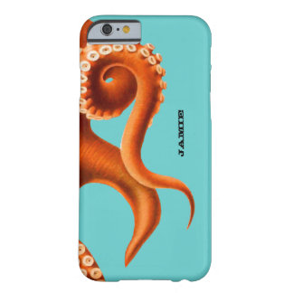 Bold Colorful Aqua and Orange Octopus iPhone 6 cas Barely There iPhone 6 Case