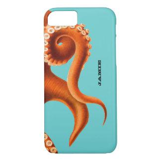 Bold Colorful Aqua and Orange Octopus iPhone 7 cas iPhone 7 Case