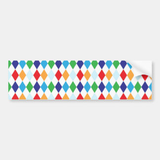 Bold Colorful Argyle Diamond Tile Fun Patterns Bumper Sticker