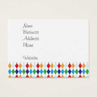 Bold Colorful Argyle Diamond Tile Fun Patterns Business Card