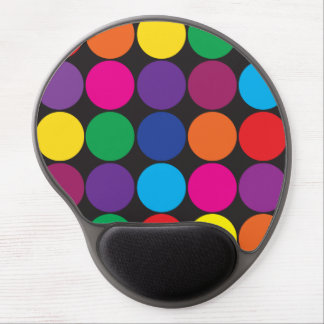 Bold Colorful Circles Polka Dots on Black Gel Mouse Pad