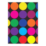 Bold Colorful Circles Polka Dots on Black Custom Invitations