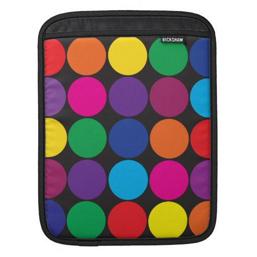 Bold Colorful Circles Polka Dots on Black Sleeve For iPads