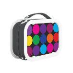 Bold Colorful Circles Polka Dots on Black Lunch Box
