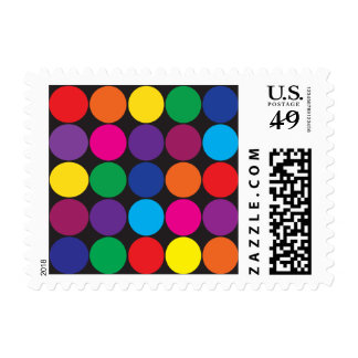 Bold Colorful Circles Polka Dots on Black Postage