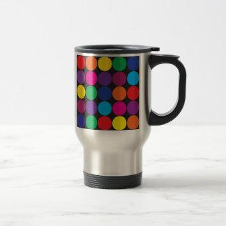 Bold Colorful Circles Polka Dots on Black Travel Mug