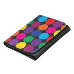 Bold Colorful Circles Polka Dots on Black Wallet