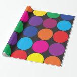 Bold Colorful Circles Polka Dots on Black Gift Wrap Paper