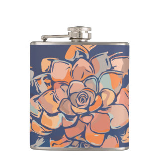 Bold Colorful Flower Design Pattern in Blue Flask