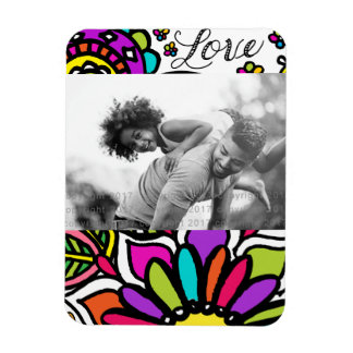 Bold Colorful Flower Love Paisley 3x4 Photo Magnet