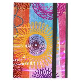 Bold Colorful Funky Spirographs and Stripes iPad Cases