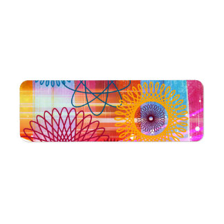 Bold Colorful Funky Spirographs and Stripes Label