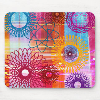 Bold Colorful Funky Spirographs and Stripes Mouse Pad