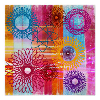 Bold Colorful Funky Spirographs and Stripes Poster