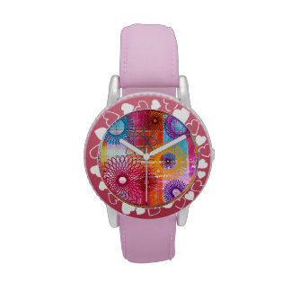 Bold Colorful Funky Spirographs and Stripes Wrist Watches