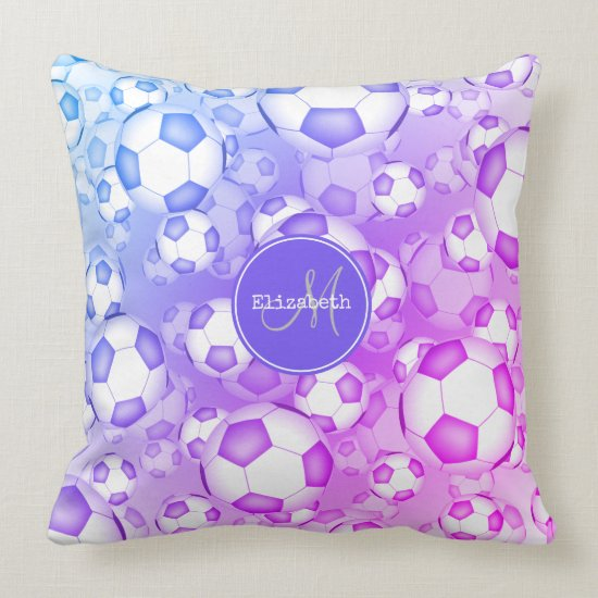 bold colorful girly soccer balls pattern throw pillow