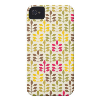Bold Colorful Leaf Pattern Pink Green Brown Yellow iPhone 4 Cases