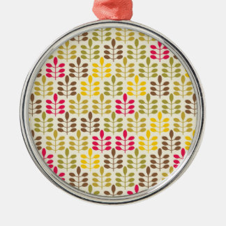 Bold Colorful Leaf Pattern Pink Green Brown Yellow Metal Ornament