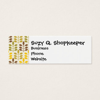 Bold Colorful Leaf Pattern Pink Green Brown Yellow Mini Business Card