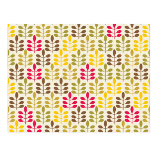 Bold Colorful Leaf Pattern Pink Green Brown Yellow Postcard