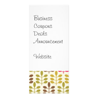 Bold Colorful Leaf Pattern Pink Green Brown Yellow Rack Card