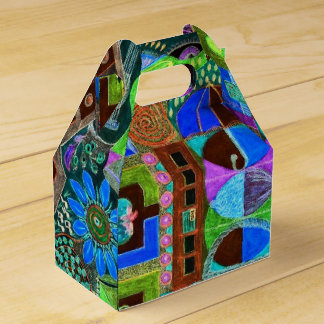 Bold & Colorful Mosaic of Shapes Party Favor Box