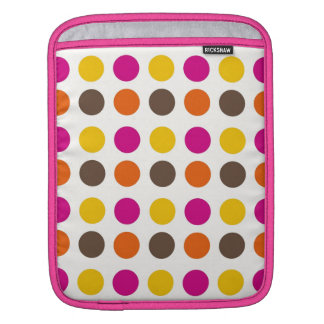 Bold Colorful Orange Pink Yellow Brown Polka Dots Sleeve For iPads