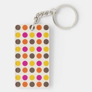 Bold Colorful Orange Pink Yellow Brown Polka Dots Keychain
