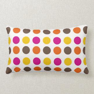 Bold Colorful Orange Pink Yellow Brown Polka Dots Throw Pillows